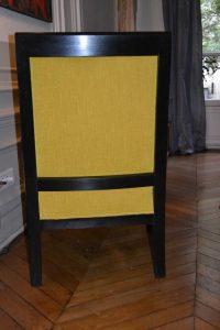 Bergère style Empire, garniture mousse, tissu Casal collection Maïs coloris 42, vue de dos – après réfection