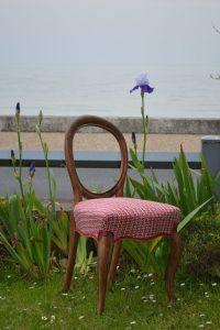Chaise de style Louis Philippe en bois de palissandre - Garniture traditionnelle en crin, tissu de couverture: Éditeur Lelievre