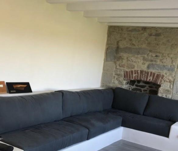 Coussins et assise canapé – tissu Lin lavé gris